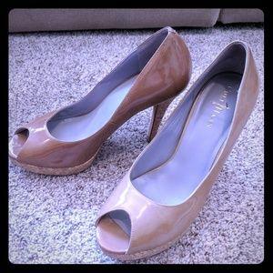Cole Haan patent leather peep toe pump